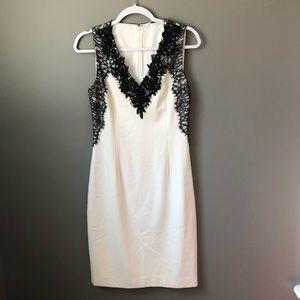 White Bodycon Dress w/ Black Floral Lace Details